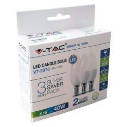 5,5W LED izzó E14 A++ gyertya 3db/csomag